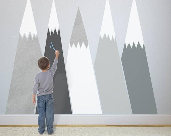 Mountains Wall Decal chalkboard Self Adhesive Removable Wall Protect SILVER custom Nursery Kids Washable Decor Blackboard #mountains016