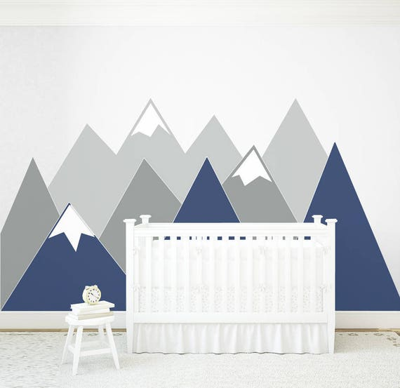 Mountains Wall Decal Navy Corner Pattern Vinyl Customized Personalized Washable Baby Room Decals Headboard Sticker Nursery #mountains034