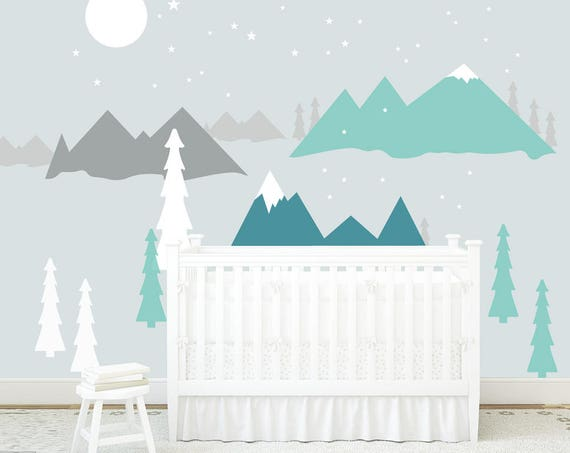 Mountains Wall Decal Nursery Baby Room Decals Woodland Removable Wall Protection Stars Moon Kids Wall Sticker Washable self adhesive Decor