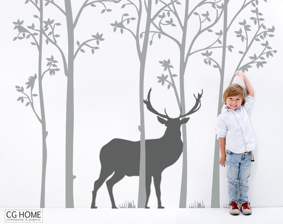 Woodland Tree Wall Decal Nursery Animals Stag Forest Deer Wall Art Kids Toddlers Baby Room Decals Custom Wall Sticker Decoration Removable