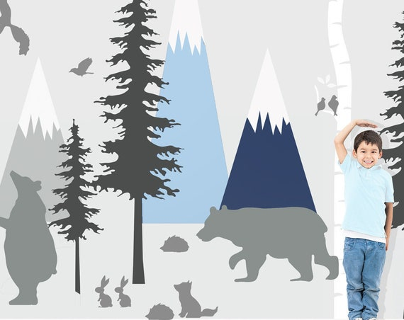 Woodland Mountains Wall Decal Birch Tree Nursery Animals Baby Kids Wall Art Forest Bear Scandi Custom Wall Sticker Decor #woodland002