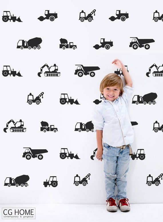 Construction Vehicles Wall Stickers The Builder Collection Tractor Excavator Cars Wall Decal Customized Nursery Decor Baby Boy Room #cars002
