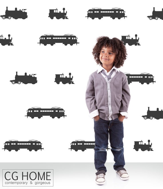 The Train Engine Vehicles Collection Wall Stickers Cars Transportation Wall Decals Custom Scandinavian Nursery Baby Boys Room Decor #cars009