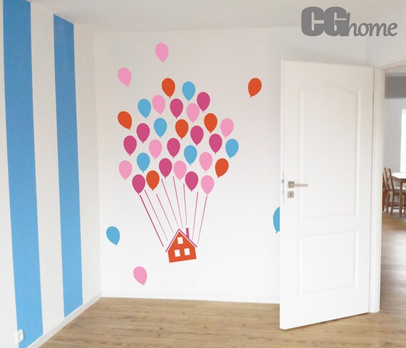 flying HOUSE for kids HUGE colorful balloons wall decal CGhome