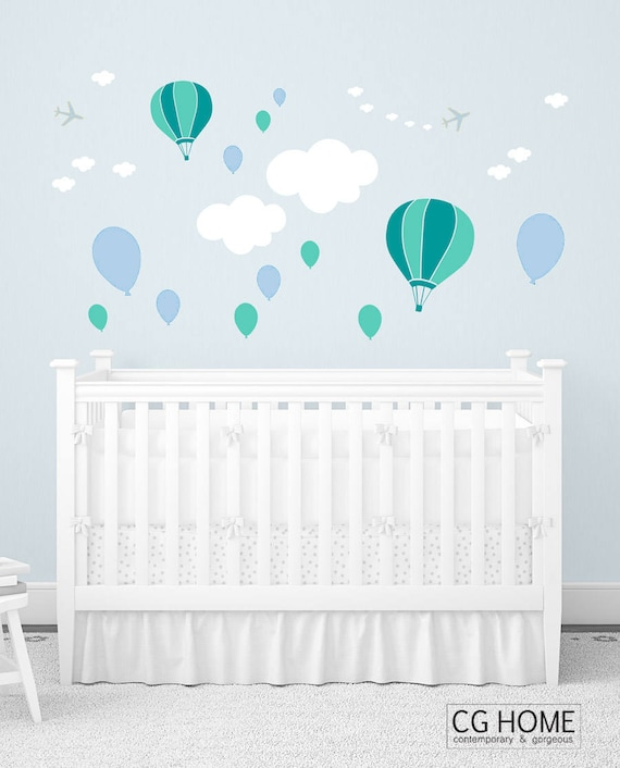 Baby Wall Decals Nursery Wall Art Clouds Balloons Airplanes Decor Crib Pattern Powder Blue Pastel Kids Room Stickers Baby Boy Baby Girl