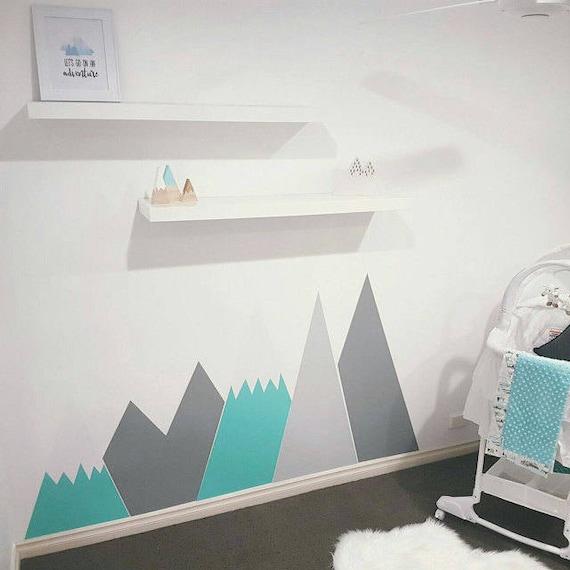 Berge Wand Aufkleber Pastell Kopfteil Berg Schnee Custom | Etsy