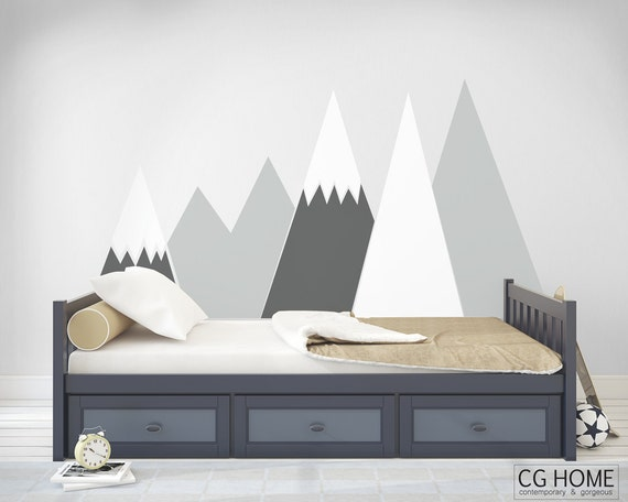 Mountains Wall Decal headboard Snow For Baby Kids Room Washable self adhesive sticker scandinavian pattern Nursery Decor #mountains004