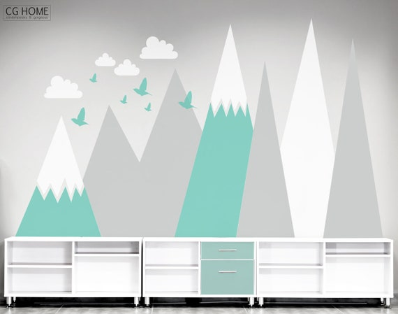 Mountains Wall Decal Wall Protection Baby Room Decor Clouds Birds Customized Personalized Washable Headboard Sticker Nursery #mountains003