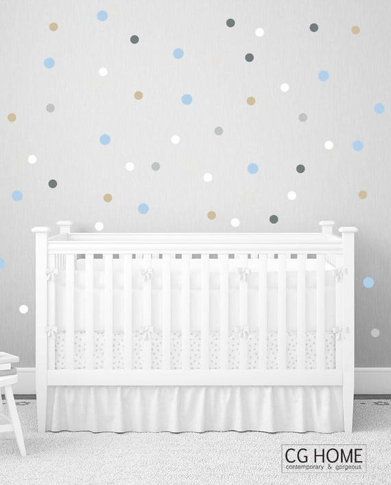 "2"" Polka Dots Wall Decals Nursery CONFETTI Pastel Wall Stickers Rainbow Baby Wall Decal 10 colors for kids Wall Art Nursery Kids Room decor"