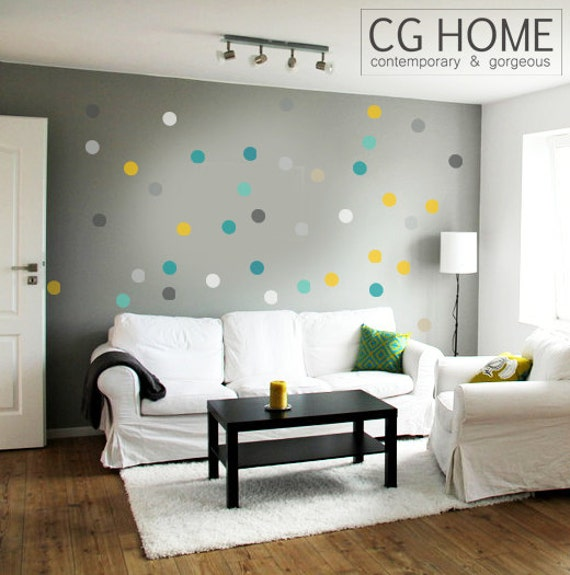 "2"" Rainbow Polka Dots Confetti Wall Decals Baby Room Decals Circle Wall Stickers 10 colors Pack Kids Toddlers multicolor Nursery decor"