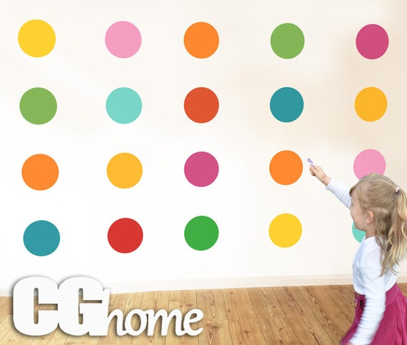 "6"" Polka DOTS Wall Decals Confetti Removable Easy Installation Baby Room Decals Wall Stickers Nursery Decoration 10 colors Kids Toddlers"