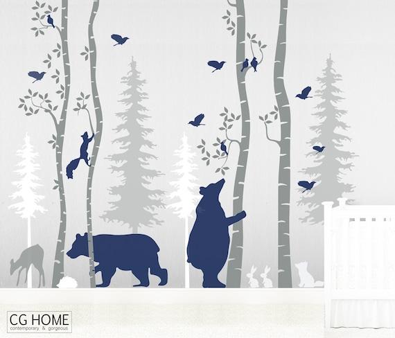 Birch Tree Woodland Wall Decal Nursery Animals Baby Wall Decals Forest Nayy Blue Bear Wall Art Kids Custom Wall Sticker Decor #woodland001