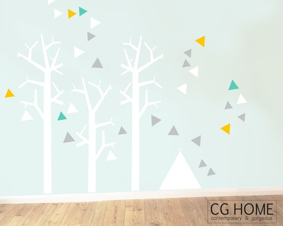 Nursery Wall Decals Woodland Wall Sticker Tree for kids Toddlers Baby Room tipi teepee FOREST triangle removable Baby Room Decals