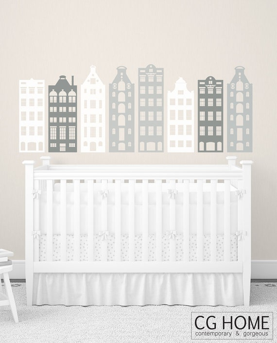 Houses Nursery Decoration Headboard AMSTERDAM houses wall decal MODERN vinyl sticker architecture CGHOME decor