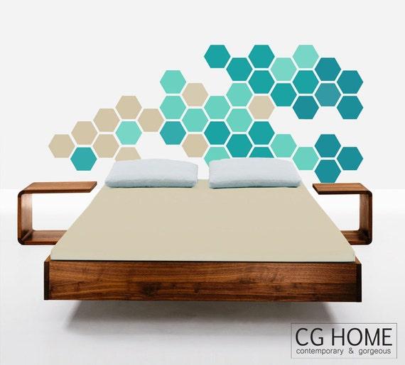 Nursery Bedroom Wall Decals Headboard Hexagons Wall Pattern Geometric Honeycomb TURQUOISE blue beige Baby Room Decals Baby Wall Decor