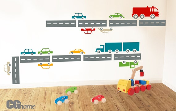 Transportation Town Wall Decals Cars Road Fire Truck Wall Stickers Vehicles Baby Boy Room City Decor Kids Custom Nursery #cars004