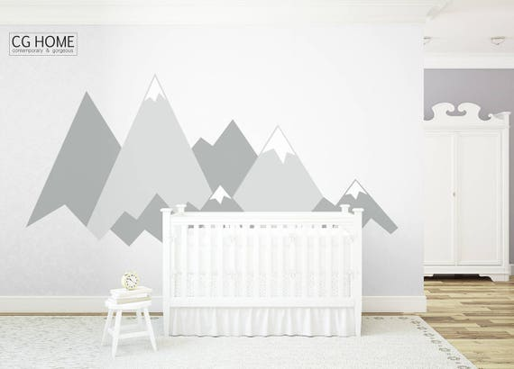MOUNTAIN Wall Decals Crib Mountains Baby Room Wall Covering Custom Personalized Washable Decoration Headboard Sticker Nursery #mountains009
