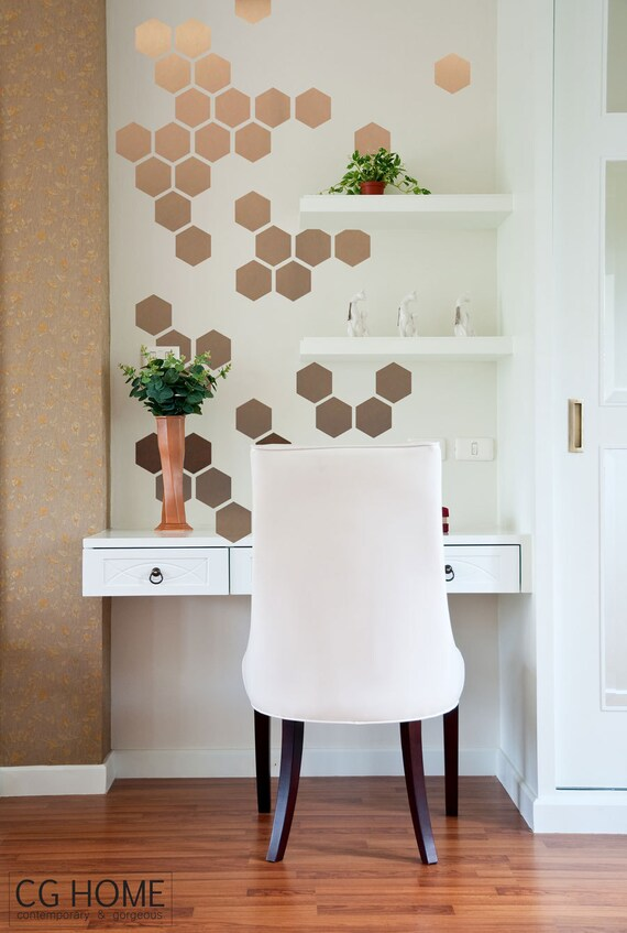 Small Honeycomb Wall Decals Geometric Copper Gold HEXAGON Wall Decoration Home Office Bathroom Bedroom Decor Matte Custom Decals