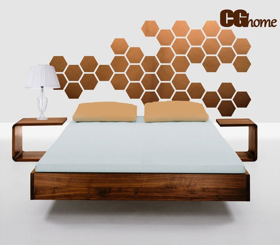 Copper Hexagons Wall Decal Geometric Honeycomb Wall Stickers Nursery Wall Decals Bedroom Headboard Wall Art Removable Baby Room Decoration