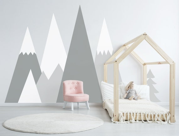 Mountains Wall Decal Baby Room Decor Nursery Crib Mountain Boy Girl Pattern  for Kids Toddlers Room Wall Stickers Self Adhesive mountains017