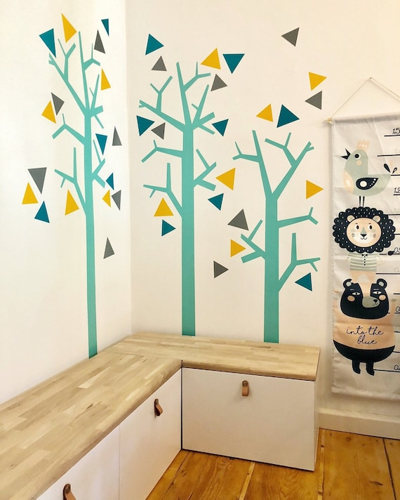 Nursery Wall Decal Woodland Wallsticker Tree Customized for Kids Toddlers Baby Room Nature Decor Forest TRIANGLE Removable decoration CGhome