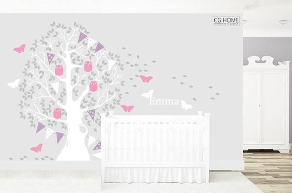 Nursery Wall Decal Large Butterfly Tree For Baby Nursery Kid Toddler Room Woodland Owl Colorful Garland Removable Sticker Choose Name #005