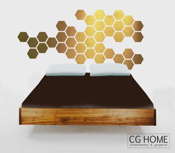 Nursery Wall Decals Gold Hexagons Wall Decor Geometric Golden Honeycomb Wall Pattern Hexagonal Headboard Baby Room Decor Self Adhesive