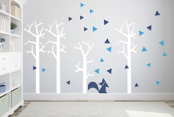 Woodland Animals Wall Decal Nursery Tree Wall Art Fox Custom Wall Sticker for Kids Toddler Baby Room Nature Decor Forest Triangle Removable