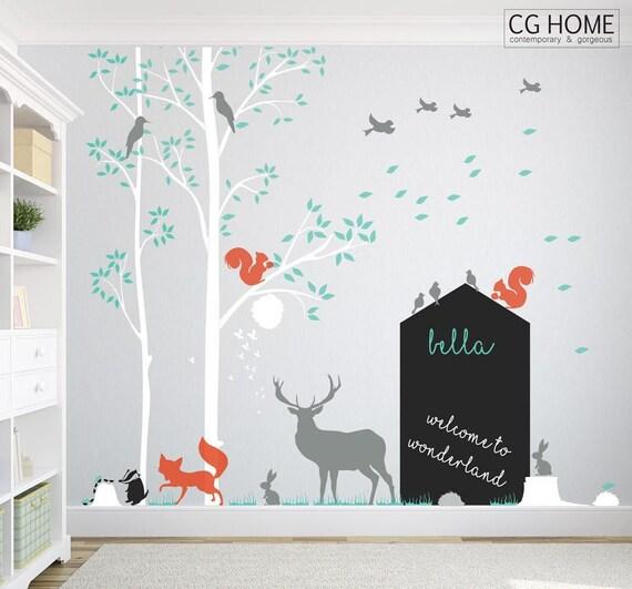 Woodland Animals Wall Decal Nursery Wall Decal Tree Wall Sticker Deer Bird Forest Wall Sticker Kids Baby Removable Custom Decor Chalkboard