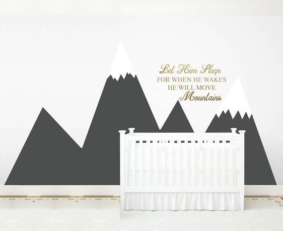 Mountains Wall Decal Baby Room Decor NURSERY Wall Art Headboard Let Him Sleep Quote Baby Boy Kids Corner Wall Sticker #mountains031