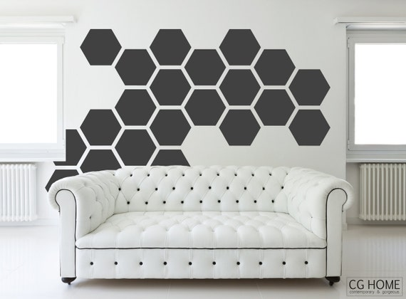 HEXAGON honeycomb wall decals geometric 12 inches COLORFUL wall sticker Home Decor Baby Kids Room Decal Removable Pattern