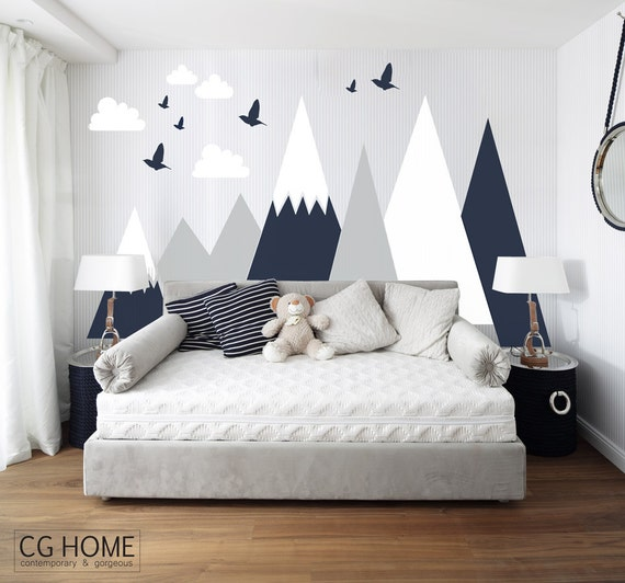 Mountains Wall Decal Woodland Baby Room Decal Clouds Birds Etsy Magnificent Etsy Baby Room
