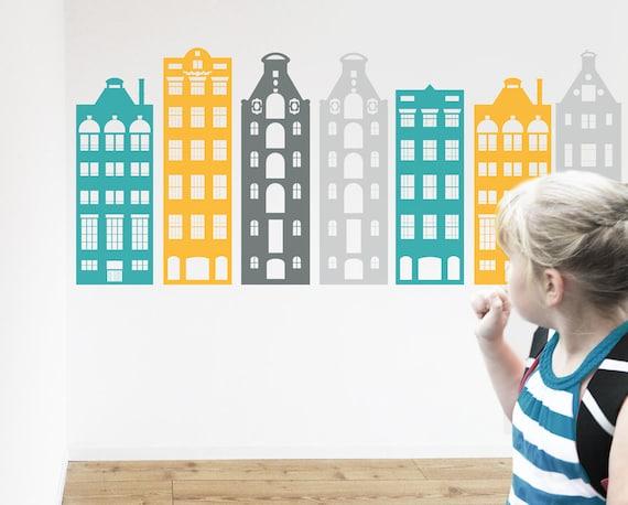 Houses Nursery Decoration Headboard AMSTERDAM houses wall decal MODERN vinyl sticker architecture CGHOME decor