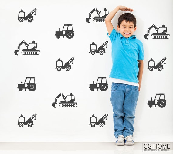 The Builder Collection Wall Decals Construction Vehicles Wall Stickers Tractor Excavator Cars Custom Nursery Decor Boys Room #cars001