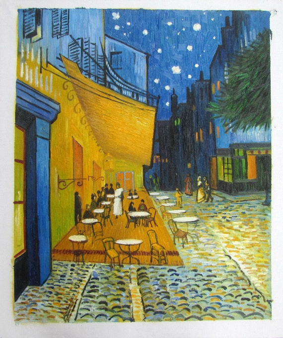 """Large Square 100/% Silk Scarf Van Gogh/'s /""""Cafe Terrace at Night/"""" Oil Painting"""