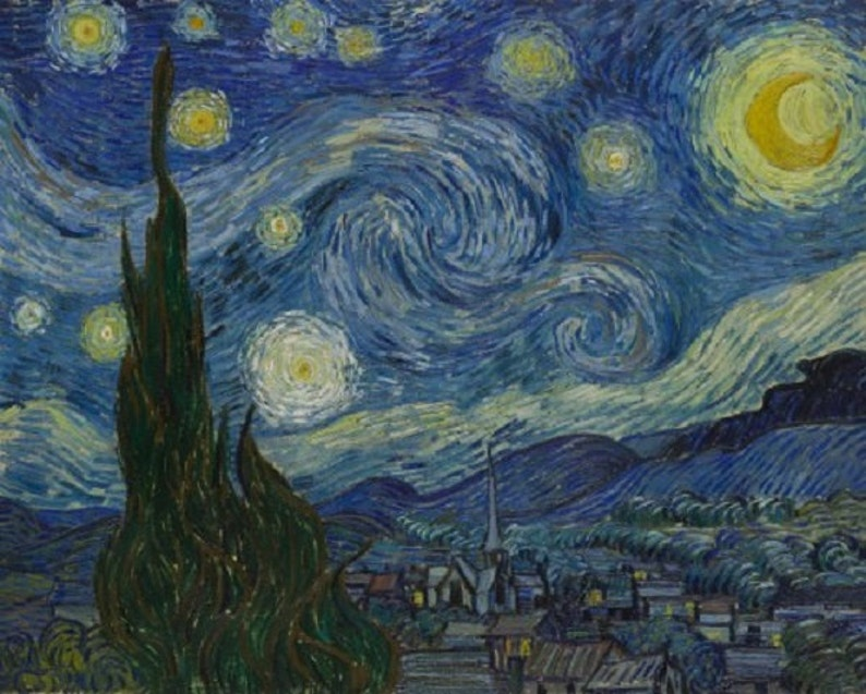 3682db0e56c11 Vincent van Gogh: Starry Night, Oil Painting Reproduction, Linen Canvas,  Starry Night by Vincent van Gogh