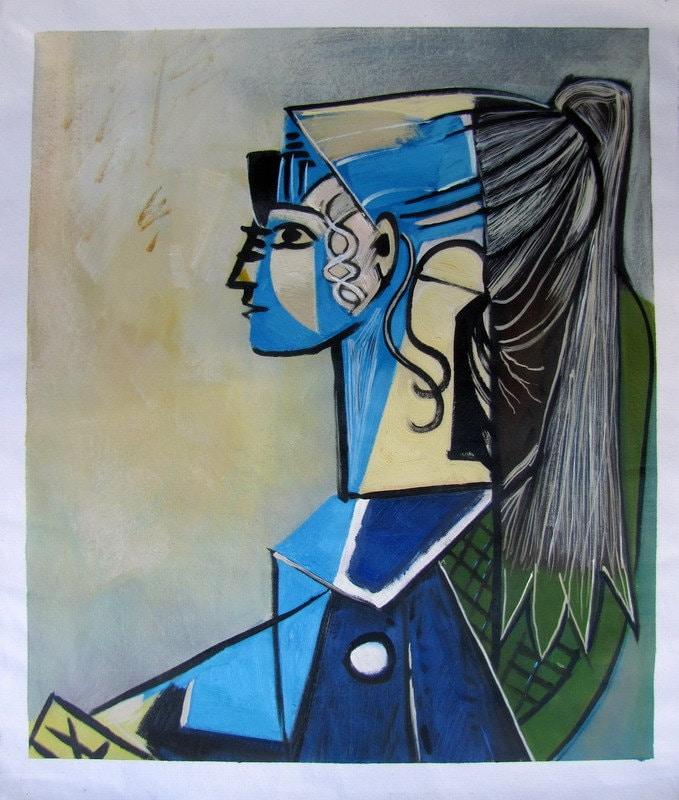 Sylvette Von PicassoPorträt Stuhl Pablo Grüner David Auf In Reproduktion LeinwandHandarbeit 1954Ölgemälde EWHD2IY9