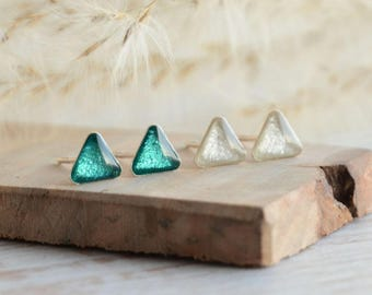 Triangle stud earrings set, teal aquamarine and pearly white trangles studs, sterling silver triangles, 2 pairs stud earring set