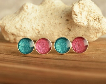 Little teal and pink dot earrings set, small hand painted circle post ear studs, sterling silver studs earrings set, 2 pairs round studs set