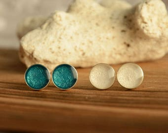 Stud earrings set, teal and white stud earrings, small hand painted circle metallic post ear studs, sterling silver studs earrings set