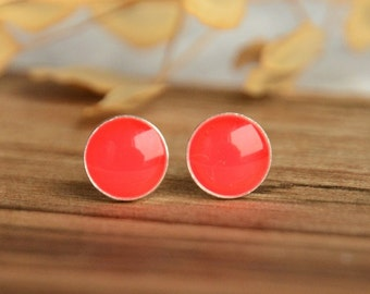 Neon pink stud earrings, psychedelic pinkish ear studs, hand painted sterling silver feminist jewelry, little ear dots, best friend gift