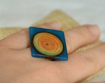 Square geometrical ring, statement wood and resin ring, modern blue resin with wood ring, reclaimed wood jewelry in gift box