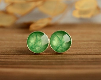Emerald green ear studs, small hand painted round stud earrings, sterling silver 7mm stud posts in jewelry box, light pearly green jewelry