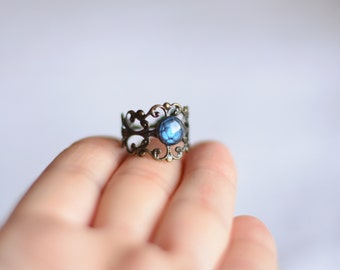 Blue gem lace ring, antique filigree lace ring, adjustable size bras ring, blue ring, mystical delicate rich ring, unique gift for her