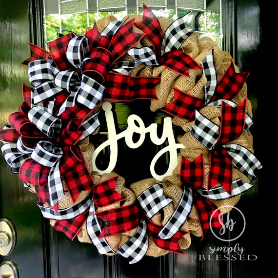 Farmhouse Christmas JOY Buffalo Plaid Burlap Wreath - as seen in COUNTRY SAMPLER magazine