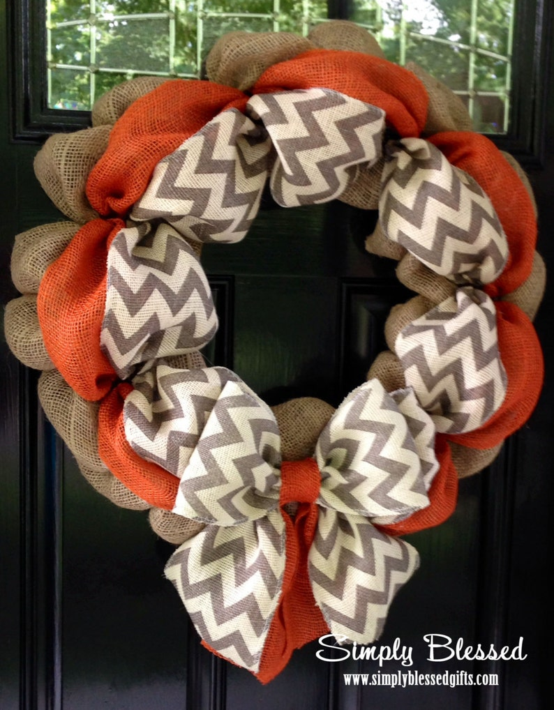 Chevron Burlap Wreath for front door or accent White and Natural Orange Fall Summer Gray