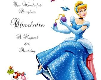 Daughter Granddaughter Personalised Handmade Princess Cinderella Birthday Card
