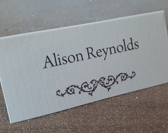 Handmade Personalised Wedding Place Cards Scroll Design