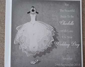 """Handmade Personalised 6"""" Square Bride to Be Card"""