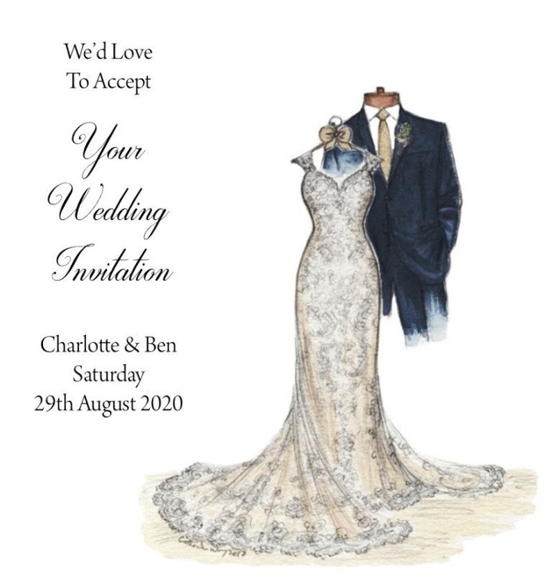 Handmade Personalised 6 Square Wedding Acceptance Card C982